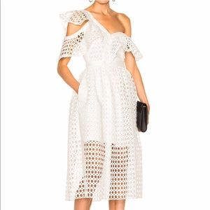 Self portrait white Camilla frill dress